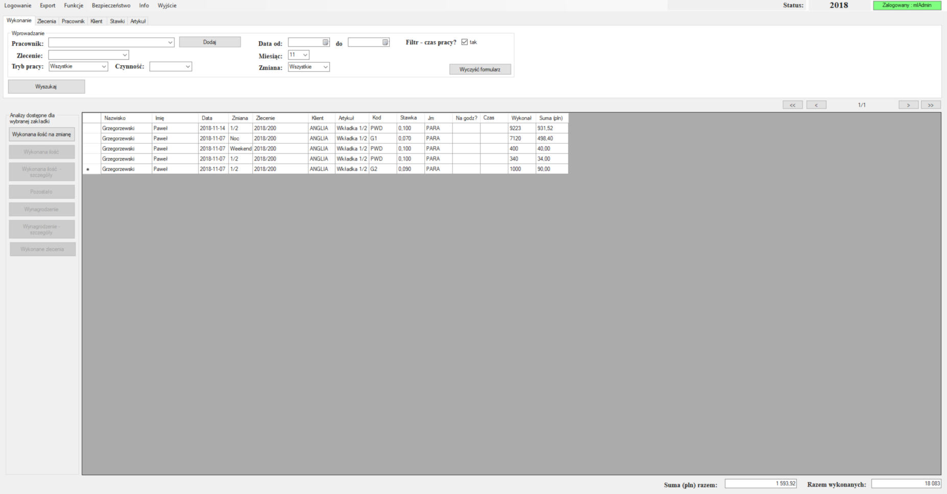 Aplikacja desktop obsługująca ewidencję i raportowanie prac na dziale akordowym.