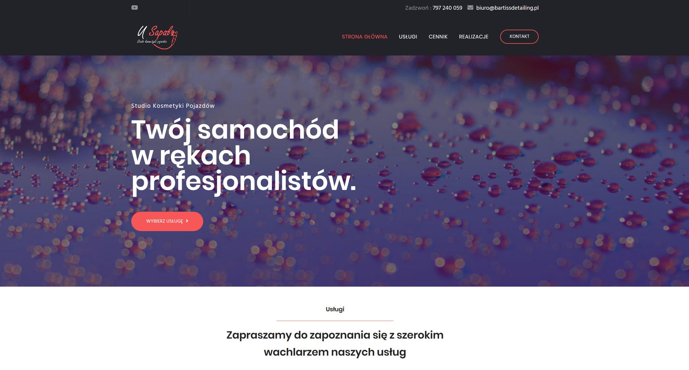 Witryna internetowa firmy zajmującej się kosmetyką pojazdów
