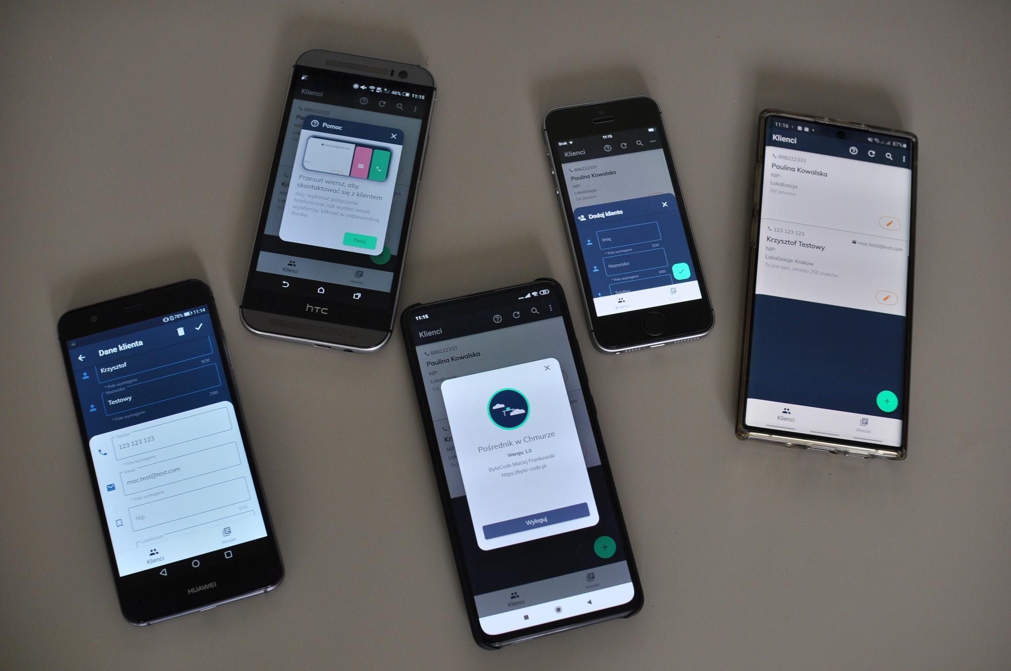 Klient na urządzenia przenośne aplikacji Pośrednik w Chmurze