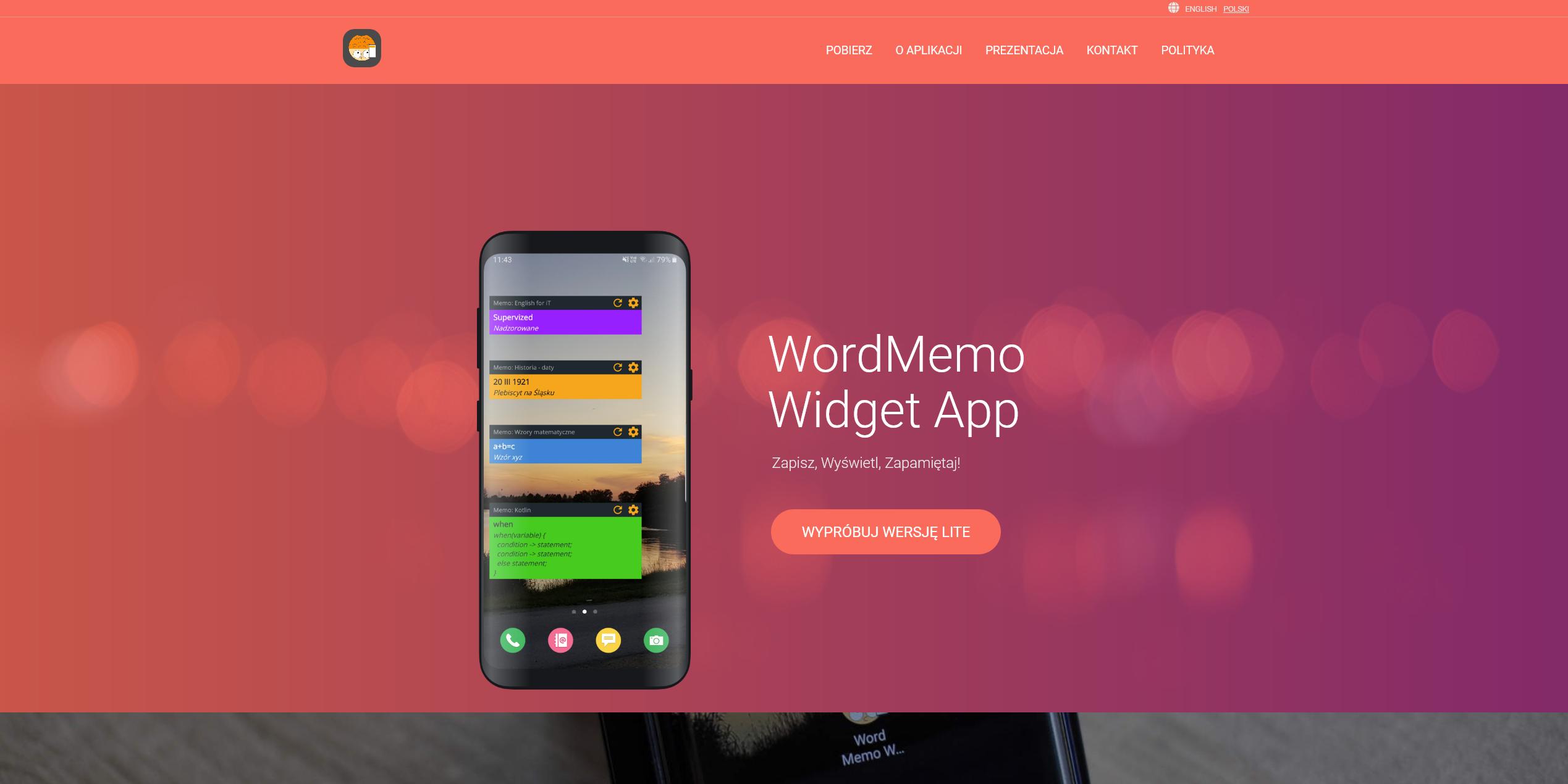 WordMemo Widget App Landing Page