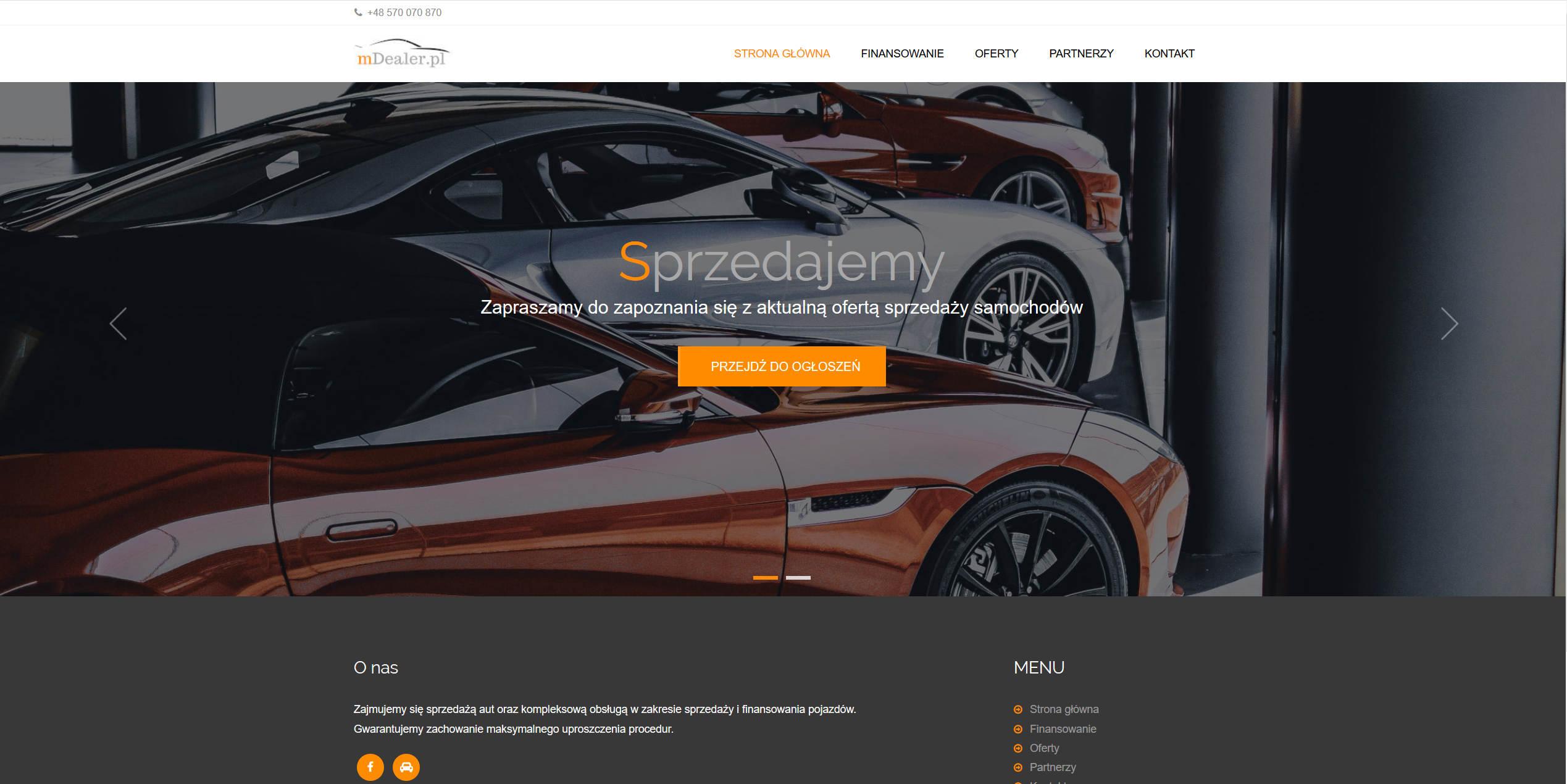 Witryna internetowa dealera samochodów.