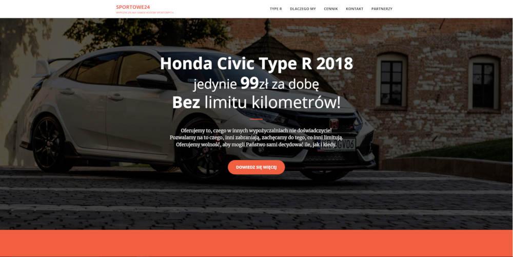 Witryna internetowa wypożyczalni aut sportowych.