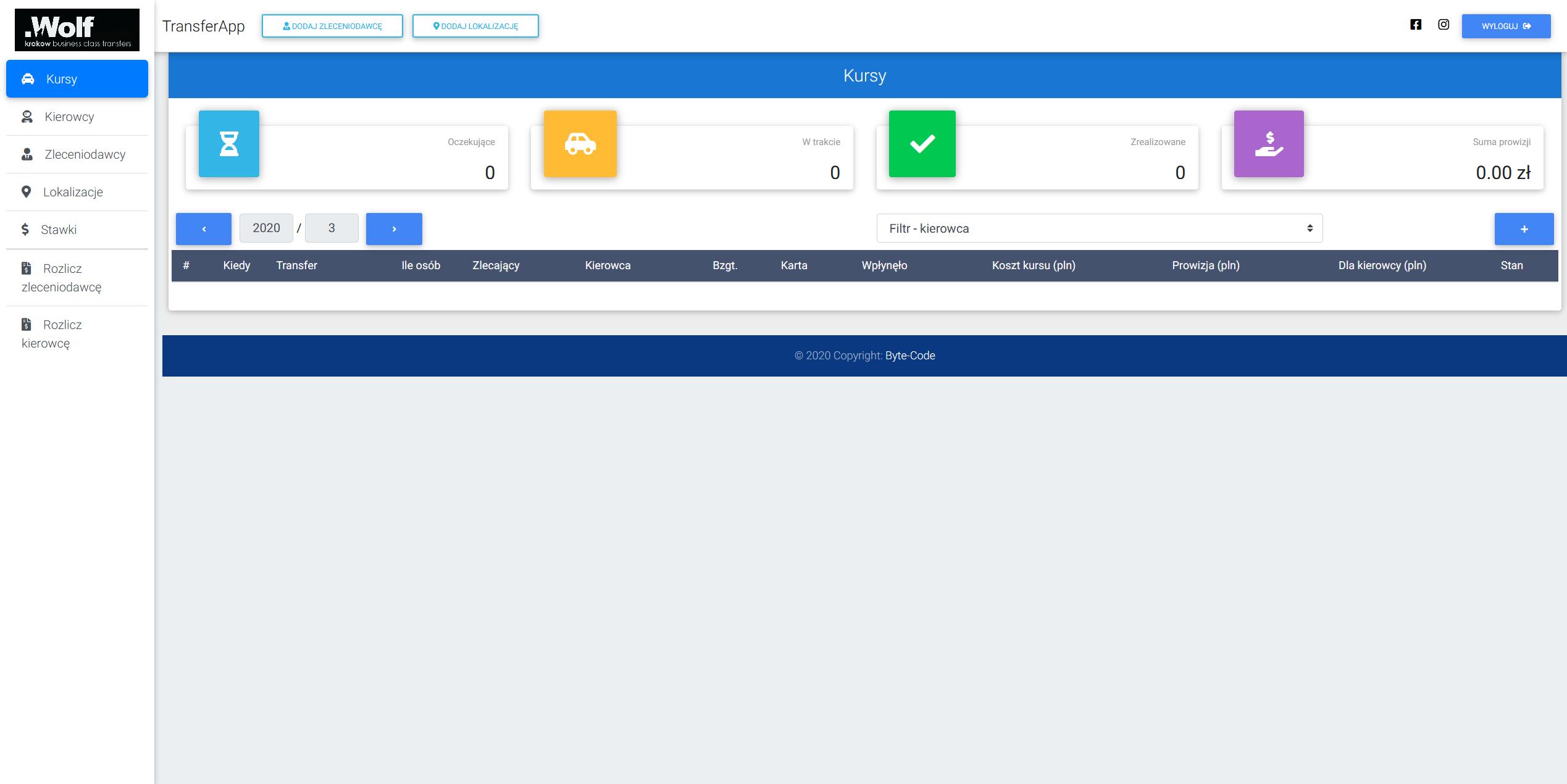Aplikacja przeglądarkowa dla firmy zajmującej się transferem osób