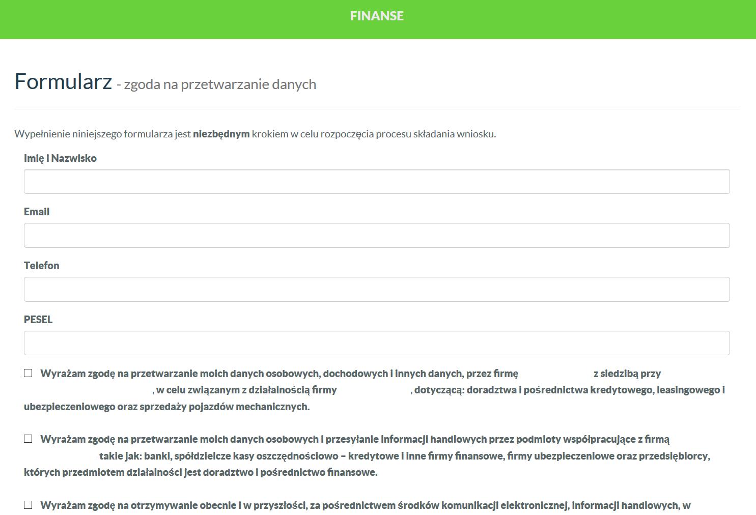 Witryna - formularz wraz z obsługą mailingu, umożliwiająca pozyskanie zgody na przetwarzanie danych osobowych na potrzeby ustawy RODO.