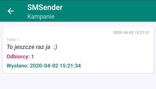 SMSender ekran główny